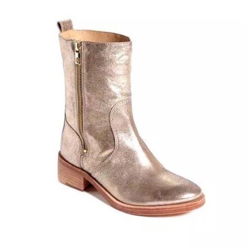 Tory Burch Halle Leather bottes Metallic femmes Sz 6 M 8689