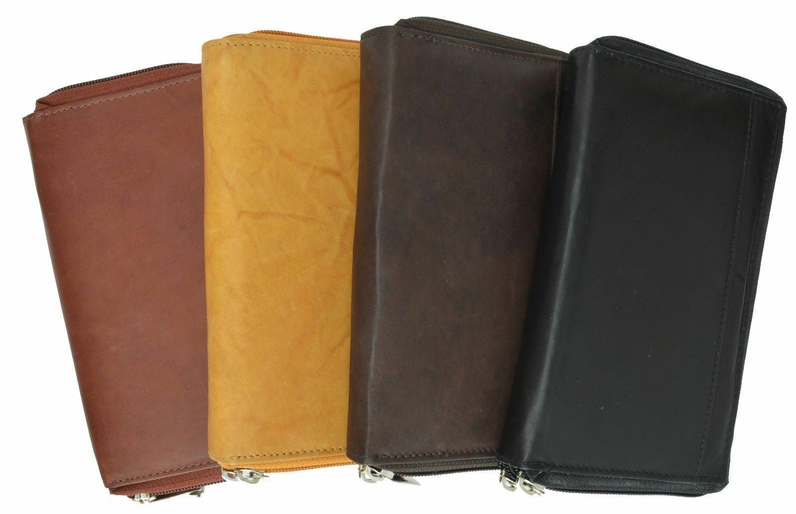 Genuine Leather ID Card Holder Checkbook Cover Clutch Long Wallet Zip Around