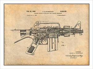 Ar 15 assault rifle m16 patent print art drawing poster ebay for My blueprint arkansas