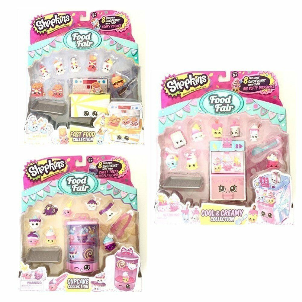 Shopkins S3 Food Fair Bundle of 3 Sets  Cool and Creamy, Cupcake, and Fast Food