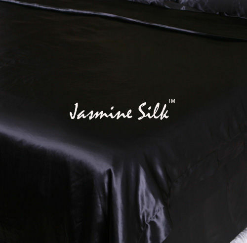 Jasmine Seta 100% 19 Mm Charmeuse SILK Copripiumino (Nero) - singolo