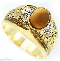 Mens Genuine Tiger Eye Tutone Gold Plated Ring