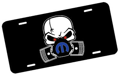 Mopar Skull Mask Blue License Plate Automotive .40 Alum. Hi-Quality Full Color