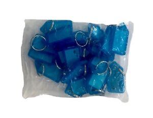 40x Key Tags BLUE Bulk colour ID keytag key ring organiser Plastic keyring