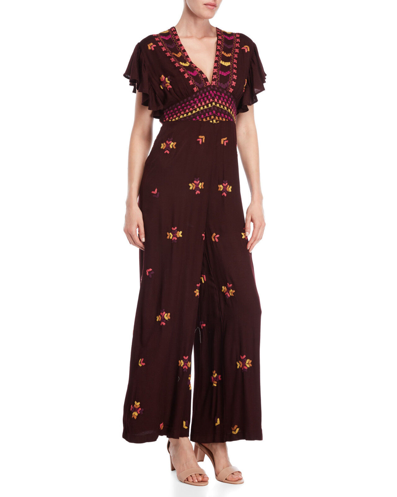 Free People Cleo Embroidered Jumpsuit - Purple Combo Size 4