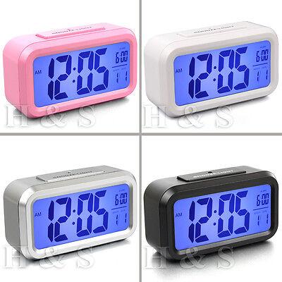 Top Quality Modern LCD LED Digital Alarm Clock Snooze Blue Backlight Large Digit