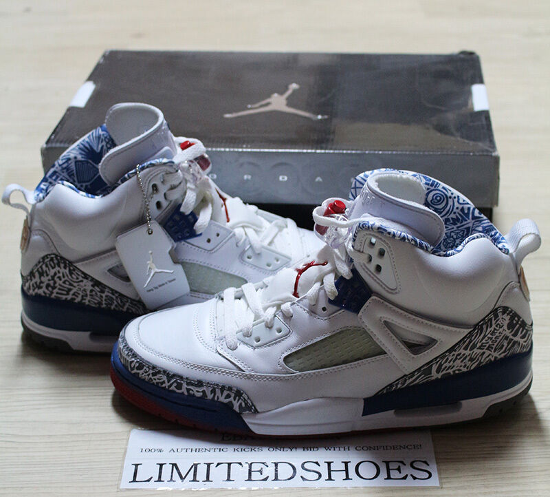 NIKE JORDAN SPIZIKE WHITE TRUE BLUE 315371-163 US 10 RED knicks nero vi cement