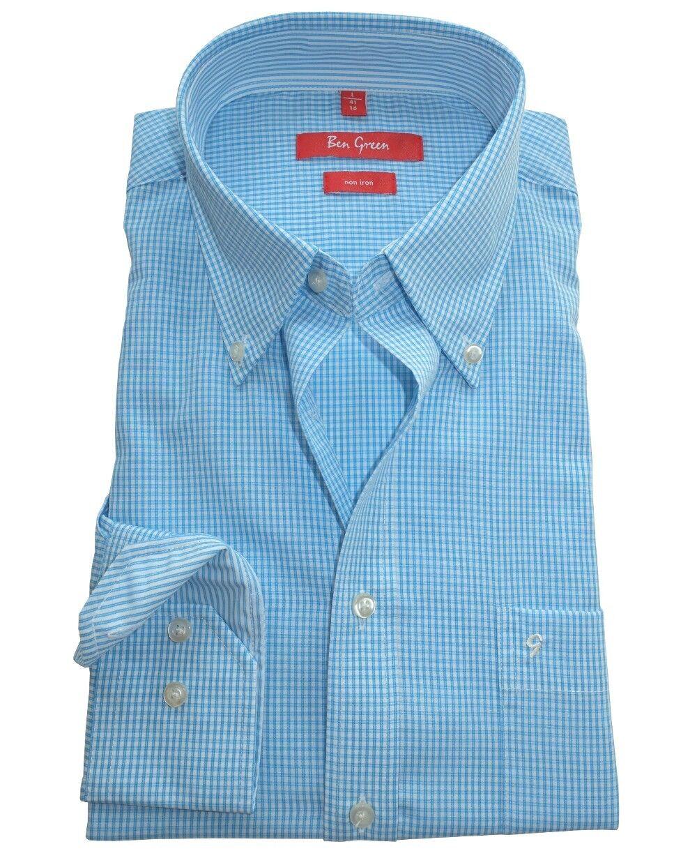 Ben Grün rotline Langarmhemd in aqua weiss Minikaro bügelfrei Gr. 41 bis 52   | Spielzeugwelt, glücklich und grenzenlos  | Quality First  | Abrechnungspreis