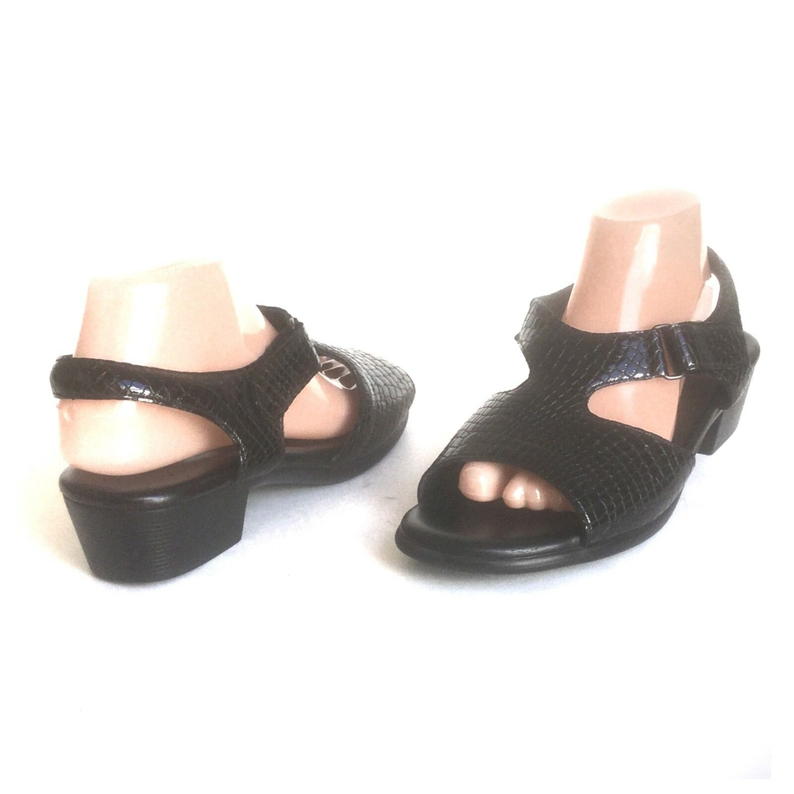 Servicio Aéreo Especial suntimer Sandalia Negro Patente Cuero Estampado de Cocodrilo zapato charol para mujer 9.5