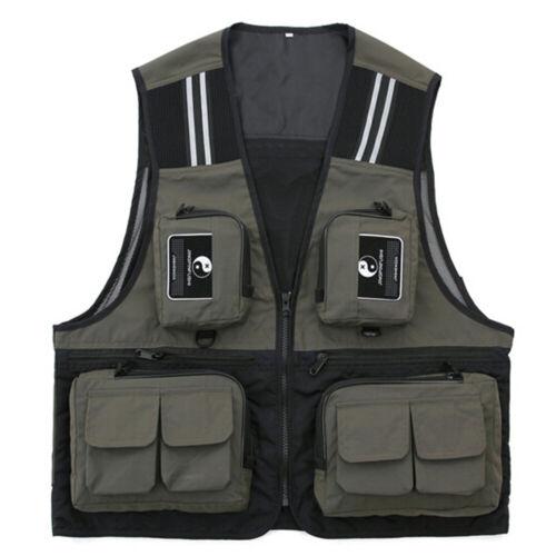 XL XXL Women Men/'s Multi-Pocket Fishing Vest Photography Hiking Jacket Waistcoat