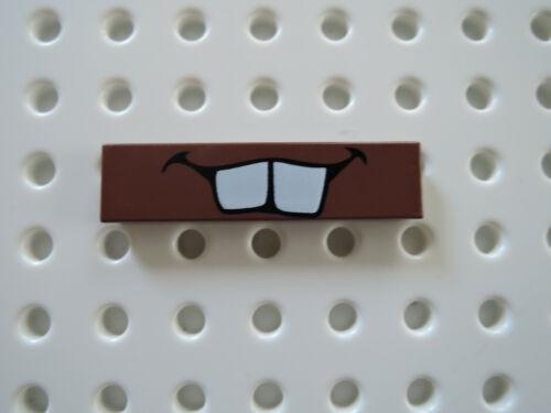 Lego 1 x Fliese 2431pb160 rotbraun 1x4  bedr Cars weiße Zähne 9483 8639 8679