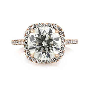 3.60 Ct Round Cut Moissanite Engagement Superb Ring 18K Solid Rose Gold Size 9