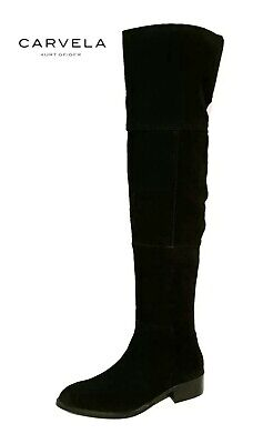 KURT GEIGER CARVELA POINT RRP£139 BLACK SUEDE LEATHER OVER THE KNEE BOOTS LADIES