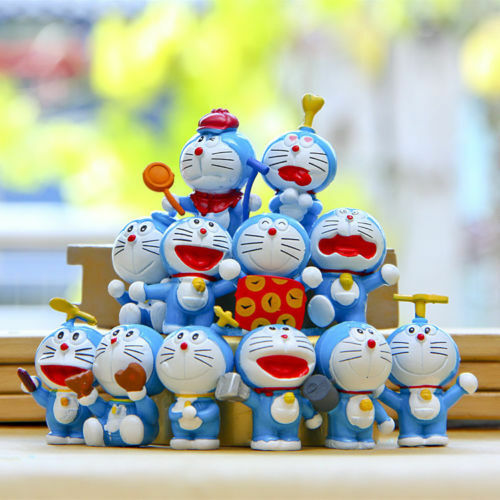 12Pcs Anime Doreamon Toys Decoration Cake Topper Collectible Figures Doll New