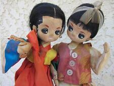 Vintage Korean Dolls Cloth Linen Wood Base Handcrafted Big Eyes Satin Hanbok l