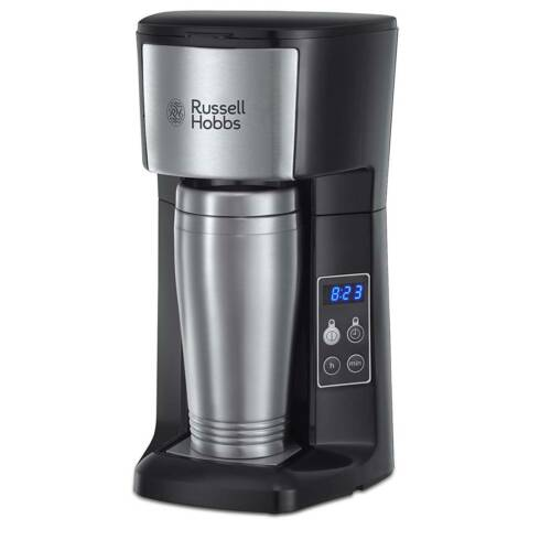 Russell Hobbs Brew and Go Coffee Machine and Mug Stainless Steel and Silver