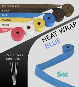 UNIVERSAL CAR BIKE EXHAUST HEAT WRAP with ties 5M BLUE-5M-BLU-Yugo