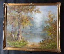 Vintage Oil Painting C Inness Signed by Artist Framed Lake And Trees