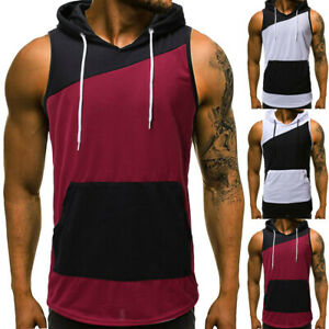 Men-Summer-Hoodie-Patchwork-Hooded-Vest-Tank-Sleeveless-Tee-Shirt-Tops-Blouse-CR