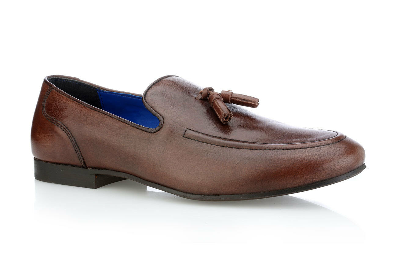 Mens Red Tape Ampthill Brown Leather Slip On Smart Loafers Sizes UK 7 - 12