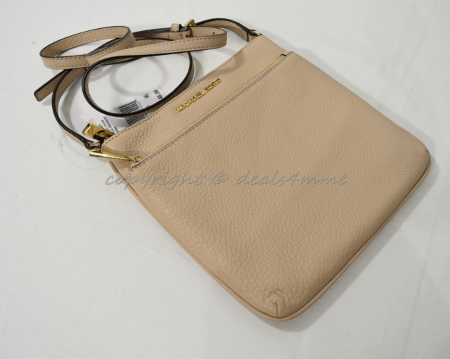 81effd53f4ef0 NWT Michael Kors Riley Leather Small Flat Crossbody   Shoulder Bag in Oyster