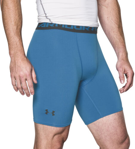 Under Armour HeatGear Mens Compression Shorts Blue Gym Running Workout Baselayer