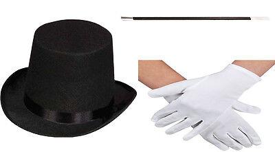 UNISEX BLACK TOP HAT MAGIC WAND MAGICIAN WHITE GLOVES MAGIC SET FANCY DRESS