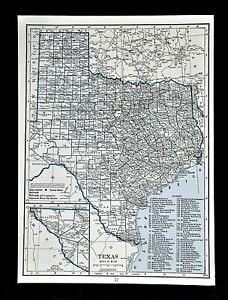 C 1925 Hammond County Map Of Texas Austin Houston Dallas San