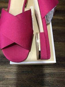 NIB-Size-6-5-Michael-Kors-Shelly-Ultra-Pink-Satin-Flat-Sandal-Slide