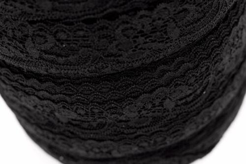 50 metres × 25mm Wide Black Stretch Lace Edge Trim Scalloped Edges