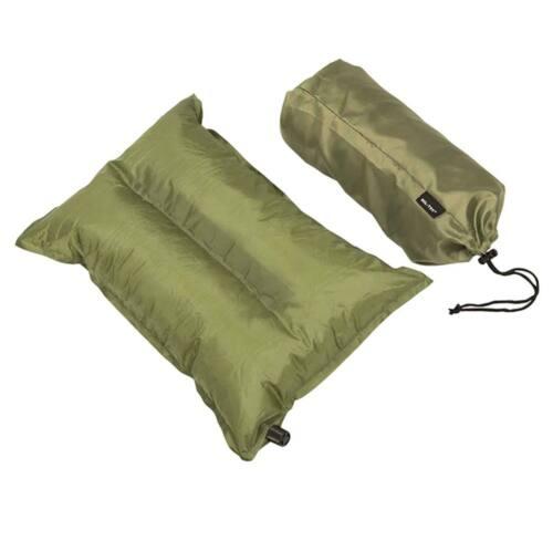Almohada hinchable verde oliva con bolsa transporte Miltec saco dormir acampada