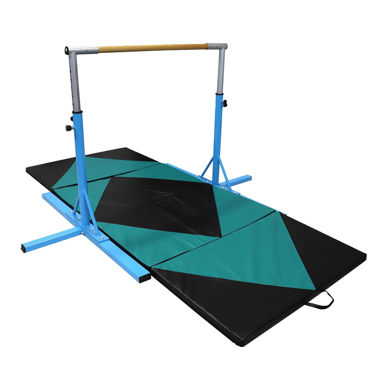 Gymnastics Bar Adjustable Training Horizontal with Gym Mat Sports Equipment blueee