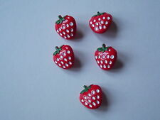 5 x STRAWBERRY SHAPED BUTTONS Size approx 16mm x 15mm ~ CRAFT/CHILDREN