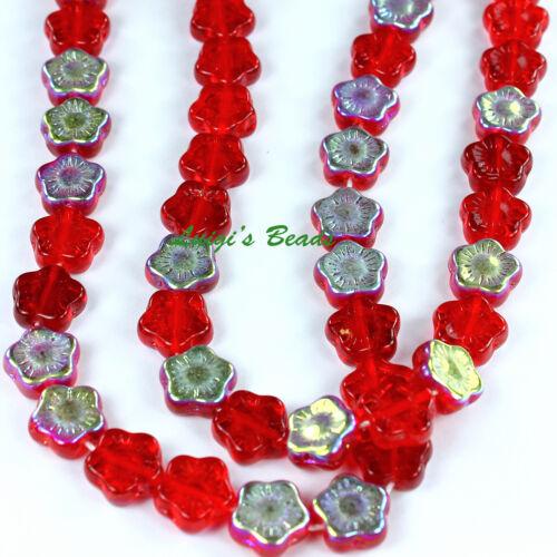 25 Siam Ruby AB Czech Pressed Glass Flowers Beads 12mm