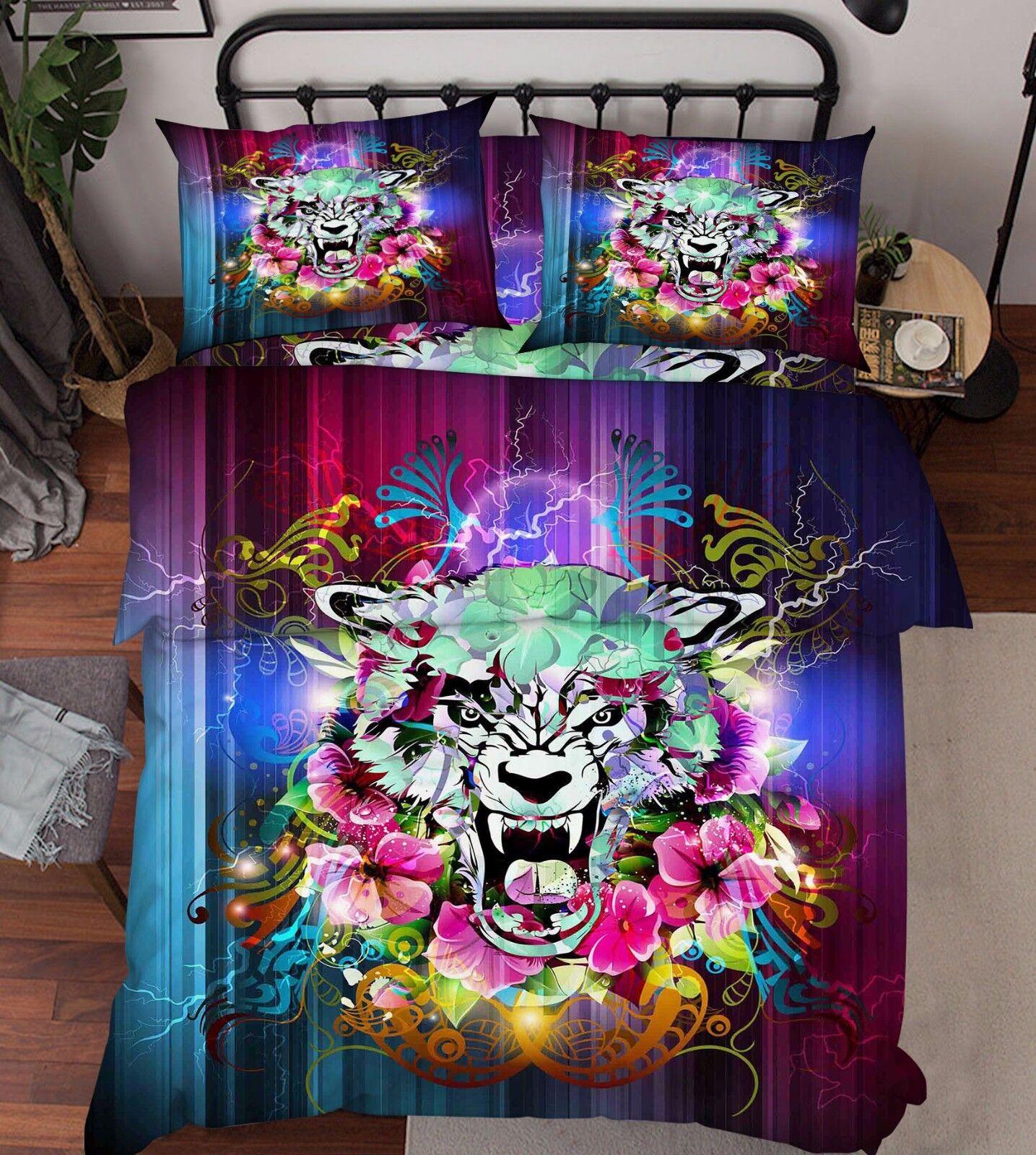 3D Fleurs Tigre 1 Lit Taies D'oreiller Édrossoon Couette Couvrir Set Célibataire