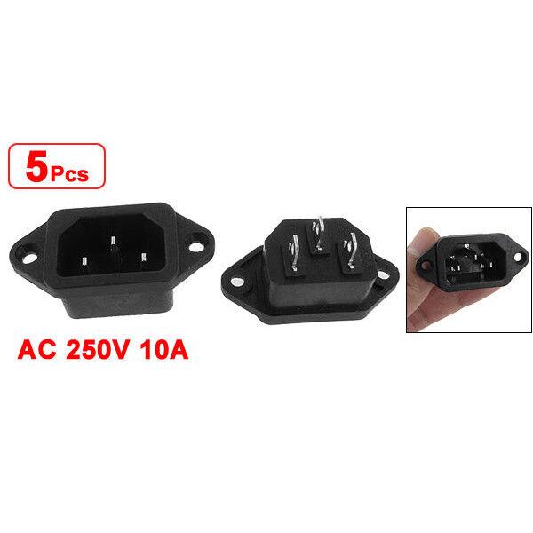 5x 3p IEC 320 c14 Stecker Plug Panel Power Inlet Sockets Stecker AC 250v 10 k2s5