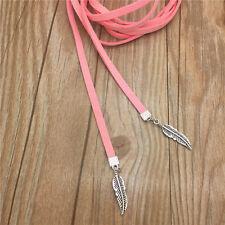 Retro Women Jewelry Pink Velvet Choker Necklace Long Chain Leaf Pendant ADB39