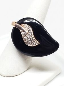 Black-Lucite-Ring-Rhinestones-by-Philippe-925-Sterling-SZ-5-3-4