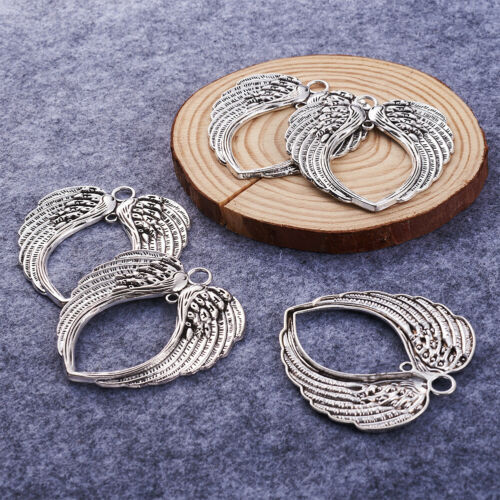 5pc Tibetan Alloy Big Pendants Wing Antique Silver Vintage Jewelry Charm 68.5mm