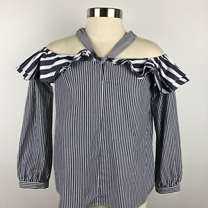2bf8dd7864a88 NWT J.Crew Striped Off the Shoulder Tie Neck Top Size 2 Blue White ...