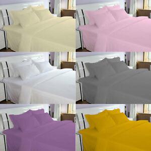 Flannelette-100-Brushed-Cotton-Plain-Bedding-Duvet-Quilt-Cover-Bedding-Set