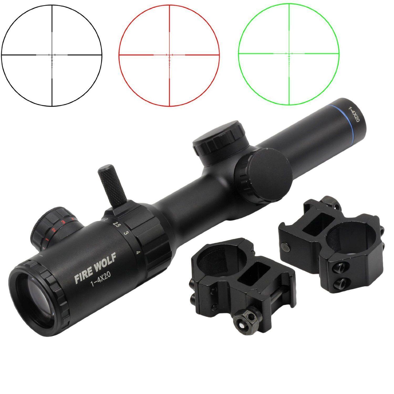New Tactical 1-4x20 ROT Grün Dual illuminated Optical Gun Rifle Scope