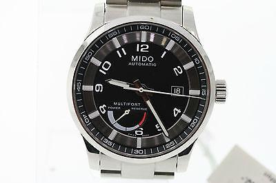 NWOT Men's Mido Multifort M0054241105202 Automatic Black Dial St. Steel Watch