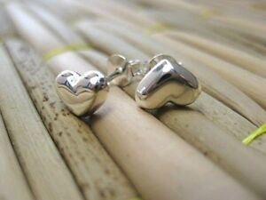 Real-925-Sterling-Silver-Stud-Love-Heart-Earrings-Charm-Lucky-Gift-Silver-SV