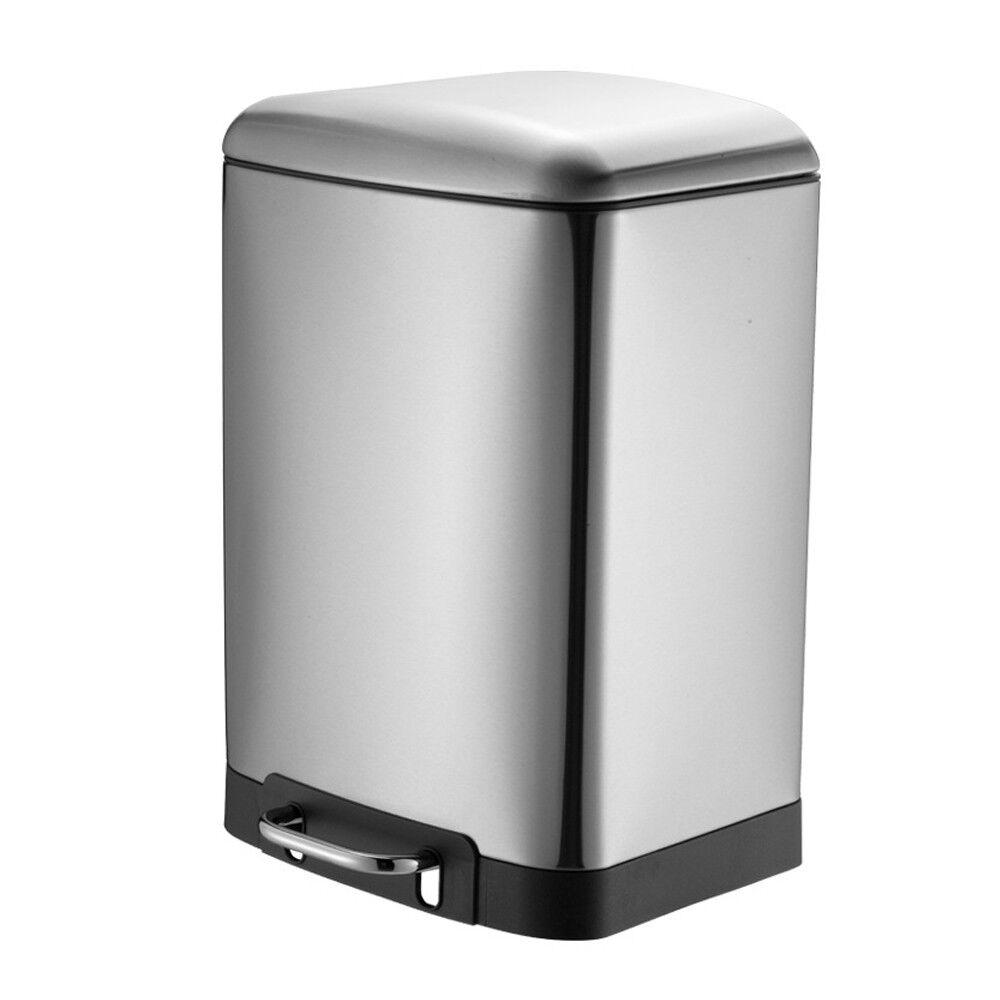 30 Liter Treteimer Küche Softclose Abfalleimer Mülleimer Edelstahl Müllbehälter