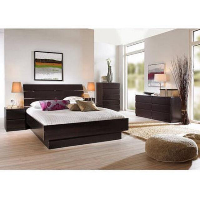 4 Pcs Queen Bedroom Furniture Set Headboard Bed Platform Chest ...