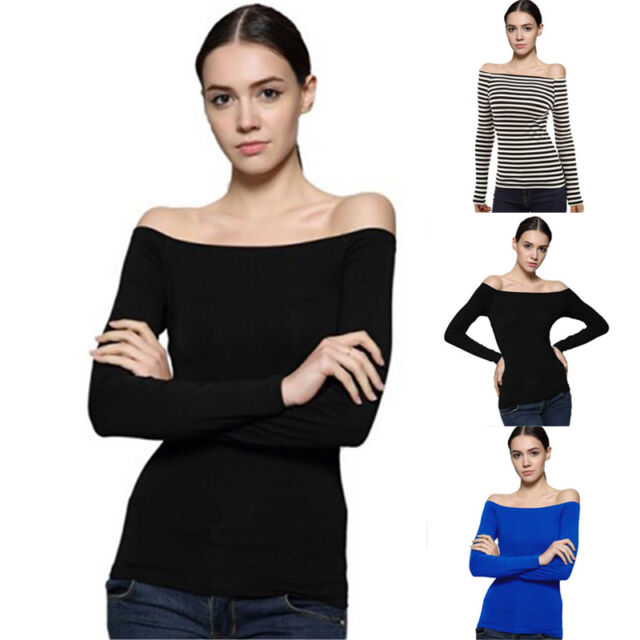 New Womens Ladies Slim Fit Long Sleeve Off Shoulder Bardot T Shirt Top Pullover