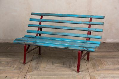 Stupendous Vintage Garden Bench Painted Railway Bench Park Bench Blue And Red Patio Seating Ebay Unemploymentrelief Wooden Chair Designs For Living Room Unemploymentrelieforg
