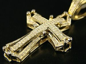 14k mens yellow gold pave diamond cross pendant 10 ct ebay image is loading 14k mens yellow gold pave diamond cross pendant mozeypictures Gallery