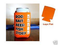 Fishing Check List Can Cooler, 12oz Neon Orange Fishing Can Cooler, Fishing Gift